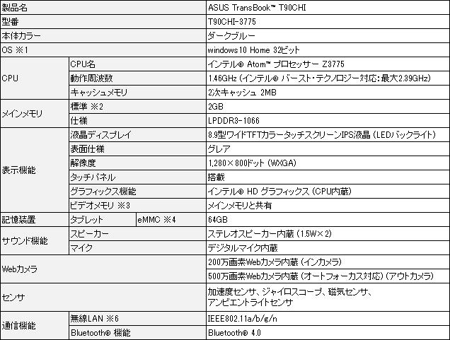 TransBook T90Chi仕様1